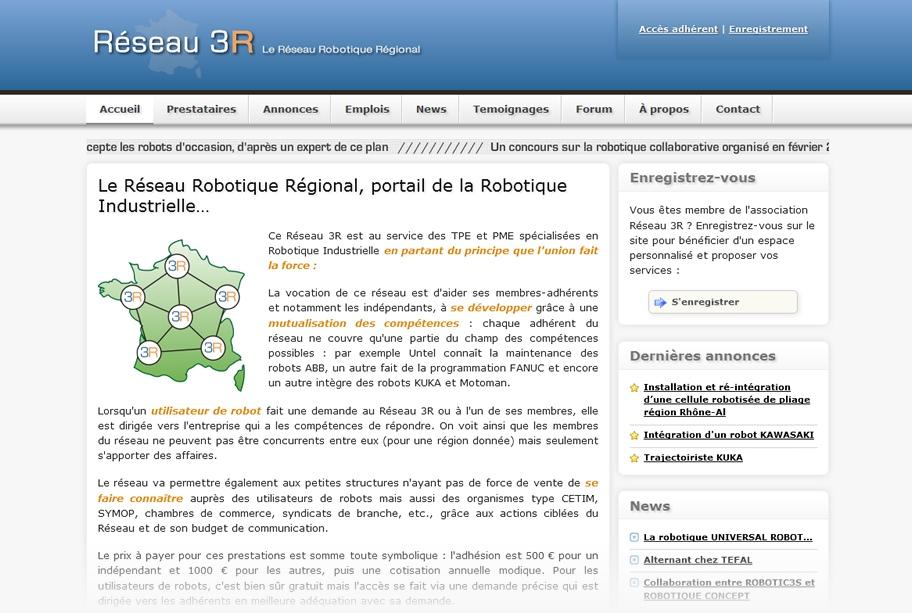 Création site internet Réseau 3R - Réseau professionnel dédié à la robotique industrielle et de service